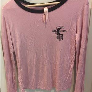 🍍5x25 Luna Chix Rose pink Long Sleeves Top Sz. M